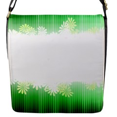 Green Floral Stripe Background Flap Messenger Bag (S)