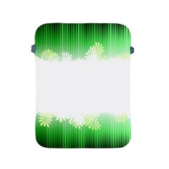 Green Floral Stripe Background Apple iPad 2/3/4 Protective Soft Cases