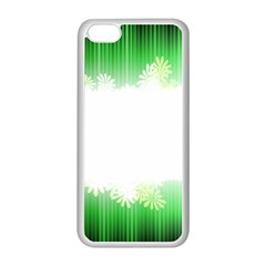 Green Floral Stripe Background Apple iPhone 5C Seamless Case (White)