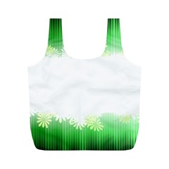 Green Floral Stripe Background Full Print Recycle Bags (M)