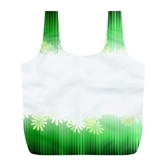 Green Floral Stripe Background Full Print Recycle Bags (L)