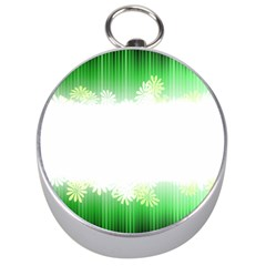 Green Floral Stripe Background Silver Compasses