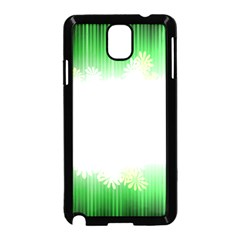 Green Floral Stripe Background Samsung Galaxy Note 3 Neo Hardshell Case (Black)