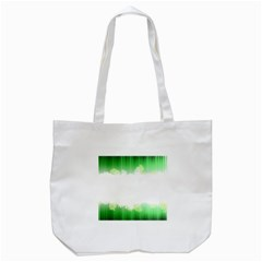 Green Floral Stripe Background Tote Bag (White)