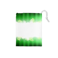 Green Floral Stripe Background Drawstring Pouches (Small)