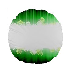 Green Floral Stripe Background Standard 15  Premium Flano Round Cushions