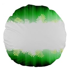Green Floral Stripe Background Large 18  Premium Flano Round Cushions