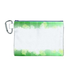 Green Floral Stripe Background Canvas Cosmetic Bag (M)