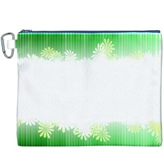Green Floral Stripe Background Canvas Cosmetic Bag (XXXL)
