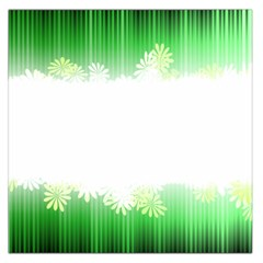 Green Floral Stripe Background Large Satin Scarf (square)