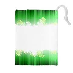 Green Floral Stripe Background Drawstring Pouches (Extra Large)