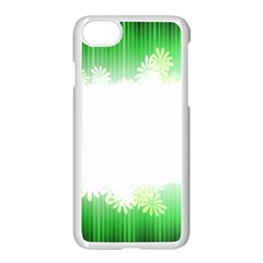 Green Floral Stripe Background Apple Iphone 7 Seamless Case (white)