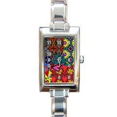 Patchwork Collage Rectangle Italian Charm Watch