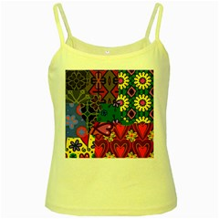 Patchwork Collage Yellow Spaghetti Tank