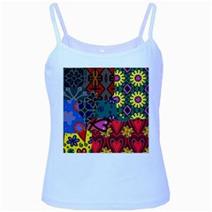 Patchwork Collage Baby Blue Spaghetti Tank