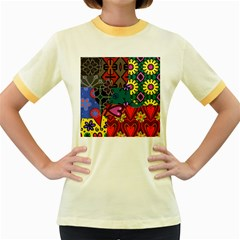 Patchwork Collage Women s Fitted Ringer T Shirts