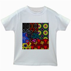 Patchwork Collage Kids White T-Shirts