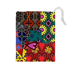 Patchwork Collage Drawstring Pouches (Large)