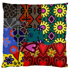 Patchwork Collage Large Flano Cushion Case (One Side)