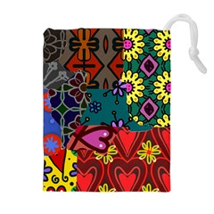 Patchwork Collage Drawstring Pouches (Extra Large)