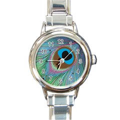 Peacock Feather Lines Background Round Italian Charm Watch