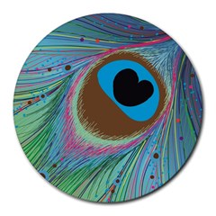 Peacock Feather Lines Background Round Mousepads