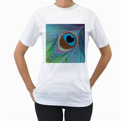 Peacock Feather Lines Background Women s T Shirt (white) (two Sided)