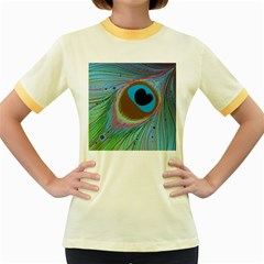 Peacock Feather Lines Background Women s Fitted Ringer T Shirts