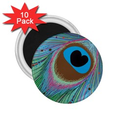 Peacock Feather Lines Background 2 25  Magnets (10 Pack)