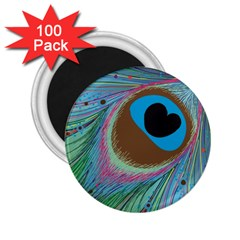 Peacock Feather Lines Background 2.25  Magnets (100 pack)