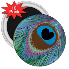 Peacock Feather Lines Background 3  Magnets (10 pack)