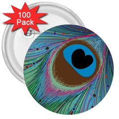 Peacock Feather Lines Background 3  Buttons (100 pack)
