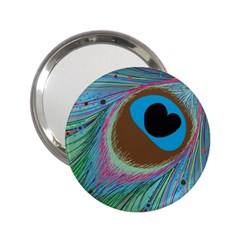 Peacock Feather Lines Background 2.25  Handbag Mirrors