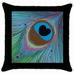 Peacock Feather Lines Background Throw Pillow Case (black)