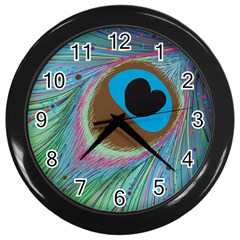 Peacock Feather Lines Background Wall Clocks (Black)