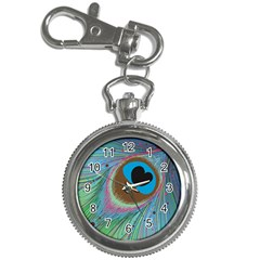 Peacock Feather Lines Background Key Chain Watches