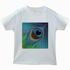 Peacock Feather Lines Background Kids White T-Shirts