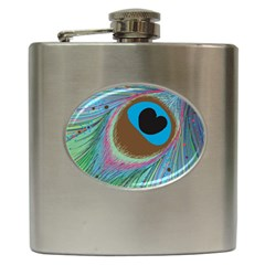 Peacock Feather Lines Background Hip Flask (6 oz)