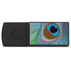 Peacock Feather Lines Background USB Flash Drive Rectangular (1 GB)