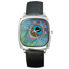 Peacock Feather Lines Background Square Metal Watch