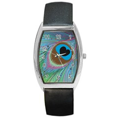 Peacock Feather Lines Background Barrel Style Metal Watch