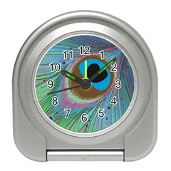 Peacock Feather Lines Background Travel Alarm Clocks