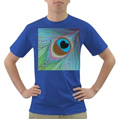 Peacock Feather Lines Background Dark T-Shirt