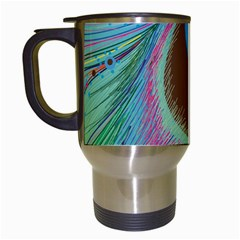 Peacock Feather Lines Background Travel Mugs (White)