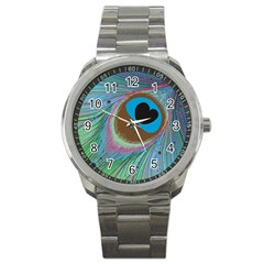 Peacock Feather Lines Background Sport Metal Watch