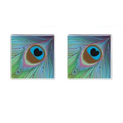 Peacock Feather Lines Background Cufflinks (square)