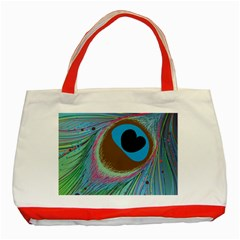 Peacock Feather Lines Background Classic Tote Bag (red)