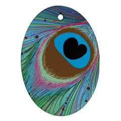 Peacock Feather Lines Background Oval Ornament (two Sides)