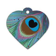 Peacock Feather Lines Background Dog Tag Heart (one Side)