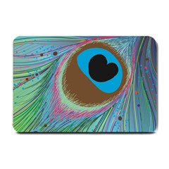 Peacock Feather Lines Background Small Doormat